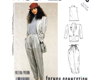 80s Vintage Suit Pattern McCalls 3025 Baggy Jacket Shell Top Pants Drawstring Waist French Connection Womens Sewing Pattern Size 6 8 UNCUT