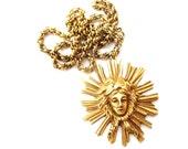 RESERVED-Striking Vintage Signed Alva Museum Replica Gold Tone Metal Woman Figure / Figural Sunburst Pendant Necklace
