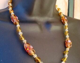 "Vintage Wedding Cake Beads Necklace Amber Murano Glass 20"""