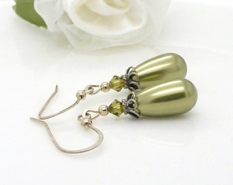 Green pearl earrings, sterling silver, Long olive green pearl drop earrings with green crystals