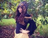 Steampunk Skirt, Gold, Steampunk, Renaissiance, Pirate, Ruffle Skirt, Hi-Low