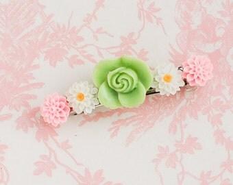 Mint Green Rose BARRETTE Pink White Daisy Flower Bridesmaid Pastel Gift Hair Accessory Nature Wedding Spring Garden Summer Hair Clip