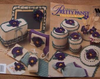 vintage 1994 crochet pattern pretty PANSY kitchen set