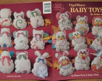 vintage 1993 vinyl weave BABY toys in cross stitch animals