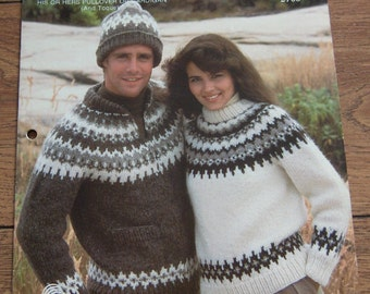 Vintage White Buffalo Elenka  knitting pattern 2706 men women  PULLOVER or CARDIGAN and TOQUE sz 32-46