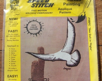 vintage 1982 speed stitch thread painting applique pattern kit SEA GULL In FLIGHT free motion machine embroidery new