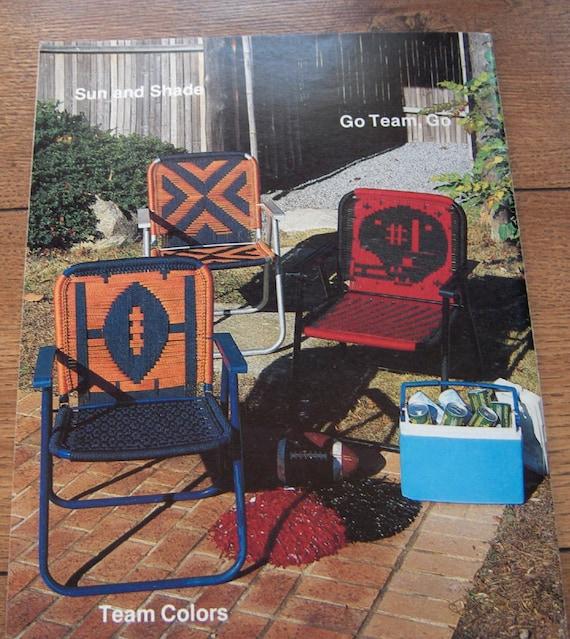 Vintage 80s macrame pattern furniture fanfare football for Retro 80s furniture