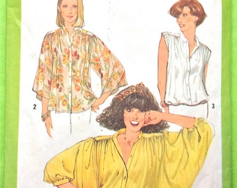 Simplicity 8348  1970s Blouse sewing pattern Butterfly Sleeves Bat Wing Sleeves   Size is small