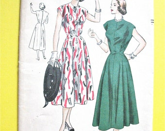 Unused Factory Folded 1940s Vogue 6316 One-Piece Dress Vintage Sewing Pattern Princess Fitted Bodice, Shaped Inset, Flared Skirt  Bust 38
