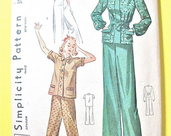 1930s Beach Pajamas and Blouse Simplicity 3156 Vintage Sewing Pattern Bust 30