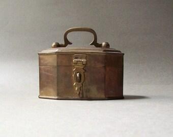 Vintage Brass Box ~ Treasure Box ~ Small Item Storage ~ Trinket Box ~ Octagonal