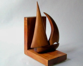 Vintage Wooden Sailboat Bookend ~ Hand Carved ~ Nautical Decor