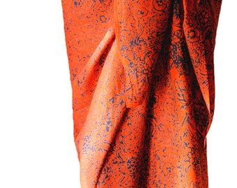 Beach Sarong Women's Clothing Swimwear Batik Pareo - Swimsuit Coverup Beachwear - Orange and Blue Sarong Wrap Skirt - Surfer Girl Woman Gift