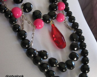 Pink & Black with Red Crystal Pendant #10
