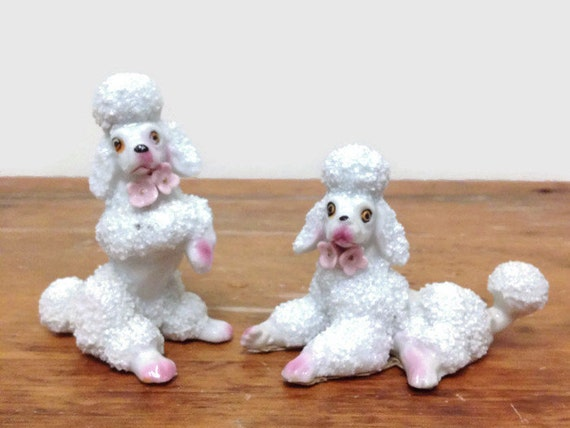 Two Spaghetti Poodle Figurines - Miniature White Dogs - Pink Flower Collars - Vintage 1950s