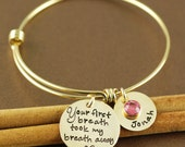 Personalized Hand Stamped Bangle Bracelet, Gold Bangle Bracelet, You first breath, Gold Bangle Charm Bracelet,