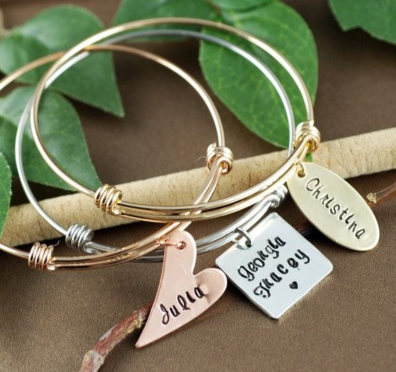 Stacking Bracelets Set of 3, Personalized Name Bracelet, Mothers Bracelet, Custom Charm Bracelet, Name Bracelet, Family Bangle Bracelet