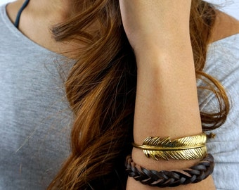 Feather Cuff Bracelet Bohemian Wrap Bracelet Stackable Gold Patina Bracelet Adjustable Bracelet Boho Gifts for Her