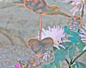 Hummingbird With Butterfly Garden Stake / Metal Garden Art / Copper Art / Bird Sculpture Outdoor Metal Art / Hummingbird Gift / Spike