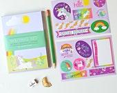 kids stationery,  stationery for girls, kids writing, notepad set, penpal, unicorn, rainbow stickers