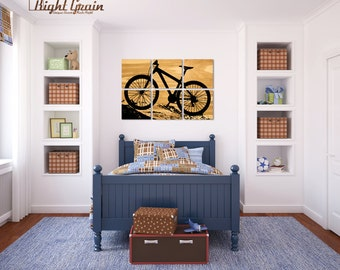 Large Wood Grain Mountain Bike Collection - Large Custom Bicycle Wall Art - Perfect Gift