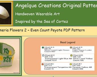 Honu Plumeria Flowers 2 DIY EVEN Count Peyote PDF pattern, sea turtle, green, yellow, silver, hawaiian,