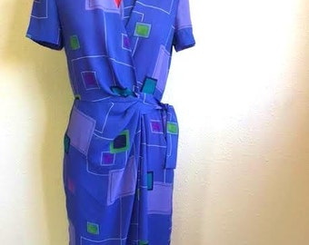 Vintage Purple Square Print Dress / 1980s Maggy London / GEOMETRIC Wrap Dress / Womens Medium Large