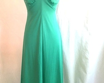 Vintage 60s Mint Green Floral Beaded Gown
