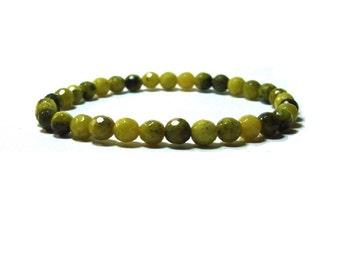 Faceted Olive Jade Stretch  Stacking  Bracelet