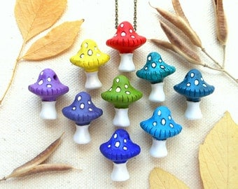 Mushroom necklace hippie jewelry psychedelic fungus shroom necklace mens hippie necklace