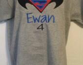Boys Batman vs Superman Birthday Red blue black logo Shirt or Onesie