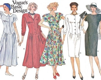 Vintage Vogue 1715 Basic Design Dress 1-Piece, Drop Waist, 5 Styles Mid-Knee or Lower Calf Length (Misses' 6-8-10) 1980s Sewing Pattern
