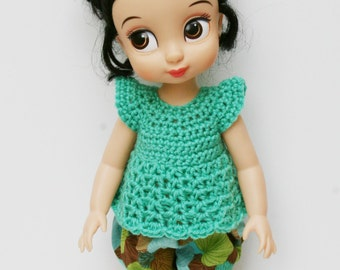 Disney Animator Doll Clothes - 2 Piece Outfit - Balloon Shorts and Crochet Top for a Disney Princess - Aqua and Leaves