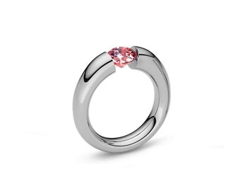 Pink Sapphire Tapered Engagement Tension Set Ring in Stainless Steel