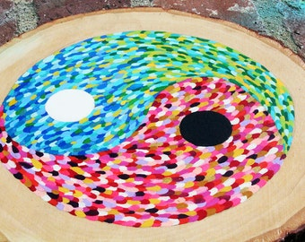 Rainbow Yin Yang on wood//original art work//one of a kind//unique art//hand painted