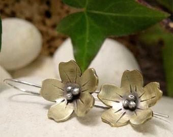 Brass Dangle Earrings, Flower Earrings, Brass & Sterling Silver Drop Earrings, Rustic Mixed Metal Earrings, Organic Hand Forged Boho Jewelry