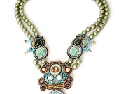 Druzy faceted agate necklace , pastel soutache beaded aqua necklace , statement swarovski pearls necklace , flower jewelry , one of a kind