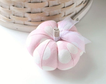 Pink Pumpkin Pincushion Pink and White Polka Dots Pastel Pin Keep