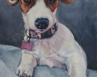 jrt JACK RUSSELL terrier dog portrait art canvas PRINT of LAShepard painting 8x10
