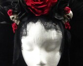 Crimson Skull Headdress with Trailing Black Lace for Day of the Dead/Dia de los Muertos/Costume/Wedding