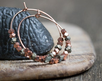 Pyrite Hoop Earrings Rose Gold Brass Modern boho Jewelry rough pyrite hoops minimal chic