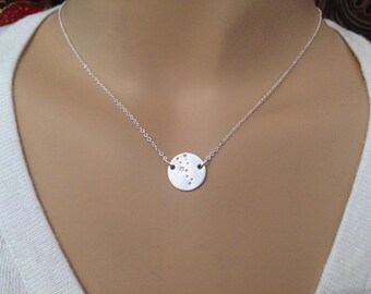 Constellation necklace of your choice - Taurus Zodiac shown - Small custom constellation jewelry - Sterling silver - Photo NOT actual size