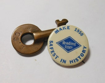 1950 Reading Railroad Safety Pinback