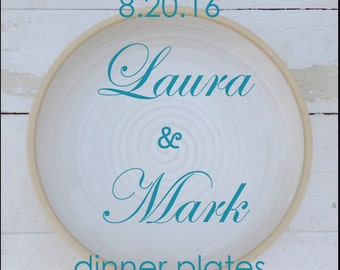 Wedding Registry, Dinner Plates, Pottery Plates, Ceramic, Place Setting, Large, Dinnerware, Dish Set, Dishware, Handmade, Wheel Thrown, Clay