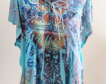 SALE bohemian clothing, gypsy top, gypsy clothing, bohemian clothes, upcycled clothing, upcycled top, turquoise top, bohemian blouse