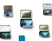 Tin Town I - mini keepsake city in a vintage tin unique art piece