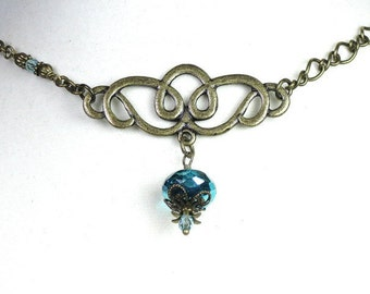Vintage Style Choker Necklace, Metallic Blue Green Aquamarine Czech Glass, Costume Jewellery, Celtic Knot, Gifts For Her, Womens Accessories