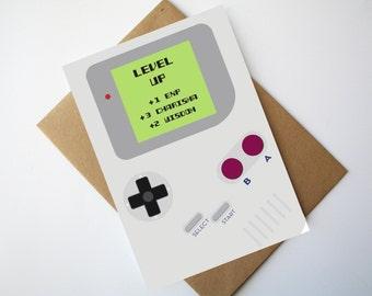 Gamer Birthday Card Nintendo Game boy inspired birthday card Game boy card - Level Up