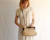70s Aignier woven jute cross body clutch bag