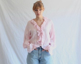 vintage pink linen ruffled poet blouse 60s